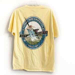 4/$20 GUY HARVEY Yellow Graphic Pocket Tee